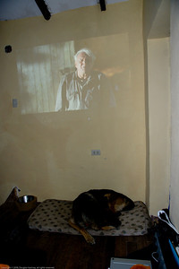 "We brought a video projector to show the BBC Earth series to kids in remote villages. We tested it with our fellow  campers, mostly bikers. The debut film was ""The World's Fastest Indian,"" and it was well received. Cusco, Peru."