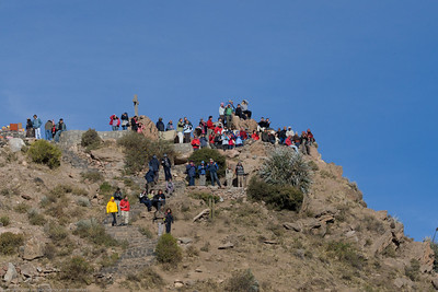 Tourists waiting for a glimpse of an Andean condor. Colca Canyon, Peru.