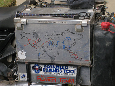 Pannier box map of Ceceilia Rojas' travels. She rides solo. Cusco, Peru.