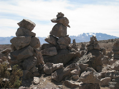 Rock towers built by ancient people. 16,000+ foot pass on the route to Colca Canyon, Peru.