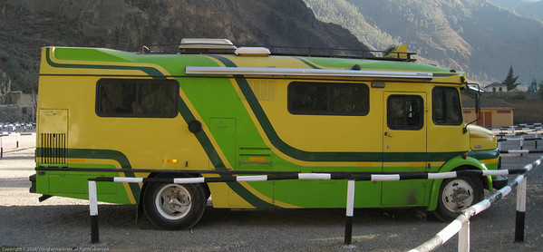 Mercedes chassis RV from Argentina. Ollantaytanbo, Peru.
