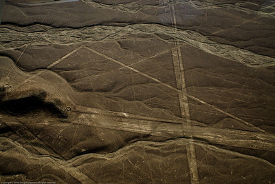 Photo enhanced to emphasise lines and shapes. Nazca Lines, Nazca, Peru.