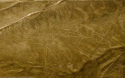 Monkey. Cropped section of enhanced photo. Nazca Lines, Nazca Peru.
