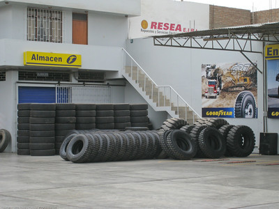 Stock of truck and bus tires at the Goodyear dealer. Installing new tires for the Fuso. Trujillo, Peru.