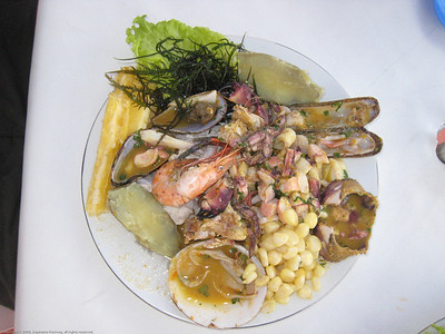 Seafood lunch. Huanchaco, Peru.
