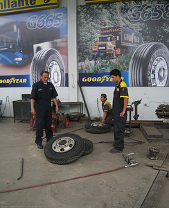 Installing new tires for the Fuso. Trujillo, Peru.