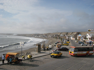 Beach and commercial strip. Huanchaco, Peru.