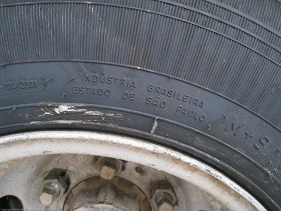 Goodyears made in Brazil. Installing new tires for the Fuso. Trujillo, Peru.