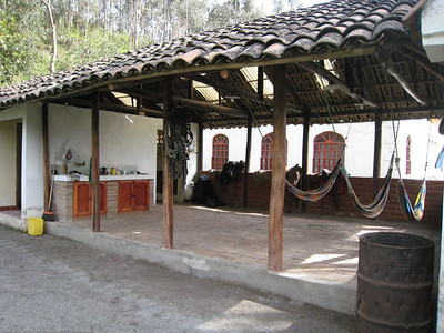 Campground shelter, restrooms and showers. The campground is on the grounds of a former hacienda that once included thousands of surrounding acres / hectares. Rincon del Viajero. Otavalo, Ecuador.