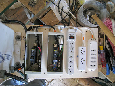 I set up output breakers and outlet strips for each voltage: 120 and 220 VAC. Ecuador is a 120 VAC country. Everything south of there in South America is 220 VAC, as is most of the rest of the world. We had  the 220 VAC outlet strips from our time in 220 VAC countries. Rincon del Viajero. Otavalo, Ecuador.