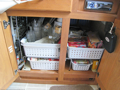 Below counter galley cupboard pack. Rincon del Viajero. Otavalo, Ecuador.