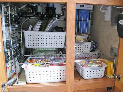 Below counter galley cupboard pack. Rincon del Viajero. Otavalo, Ecuador.