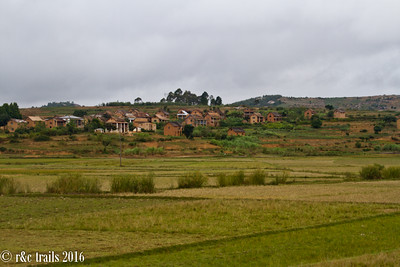 passing by small villages on the local train
