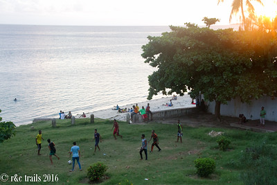a sunset game of soccer