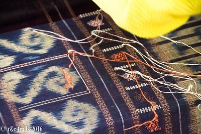 traditional weaving pattern of lao women's skirt