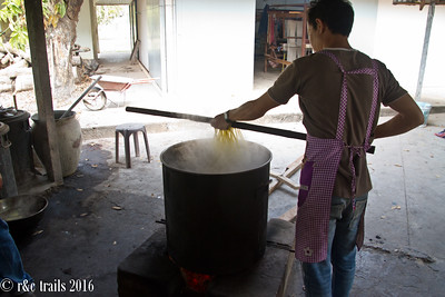 raw silkworm yarn requires about an hour of boiling in order to soften it