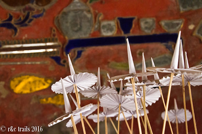 paper ornaments inside a monastery