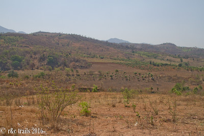 the dry landscape of the hills around Inle Lake (dry season)