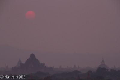 hazy bagan at sunset