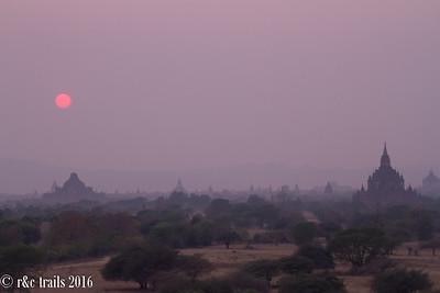 hazy bagan at sunset