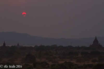 red sunset over bagan