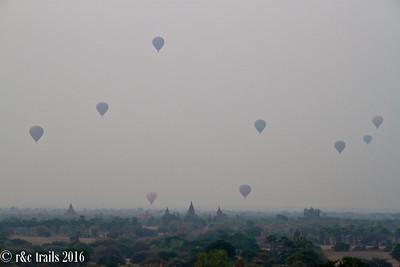 balloons over bagan on a hazy morning