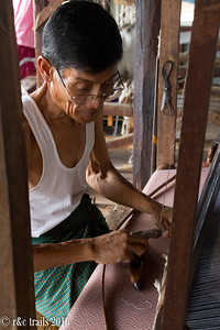 the only male at this weaving center - a very skilled weaver!