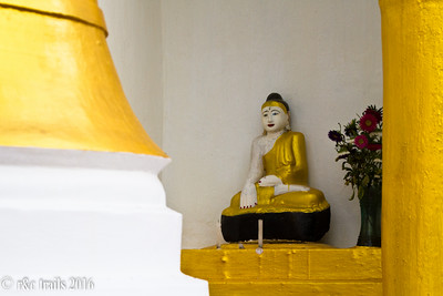 more gold Buddhas on a hilltop in Kalaw