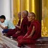 a monk at shwedagon pagoda