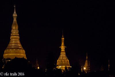 Shwedagon pagoda stupas