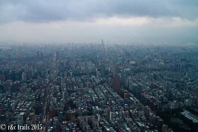 rainy views atop Taipei 101