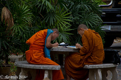 monks drawing. walking past, it was noted one was drawing skulls in his sketchbook.