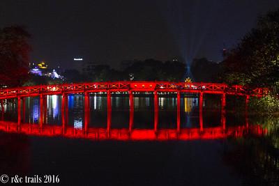 red bridge reflection