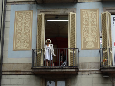 Marilyn made an appearance on the balcony at the Erotic Museum on La Rambla
