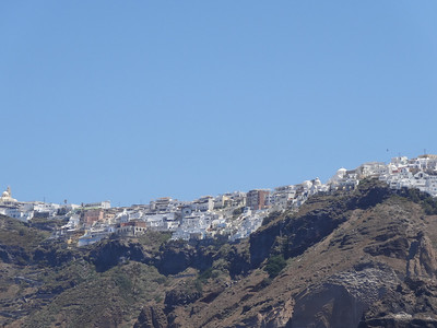 Looking up at Fira on the island of Santorini
