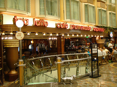 Cafe Promenade and stairs down to the casino