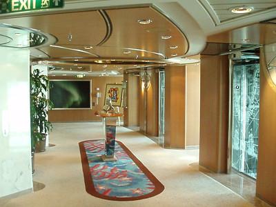 Elevator area. Elevators are open view to the sea