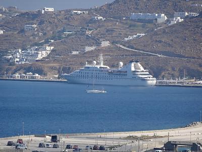 Seabourn ship in Santorini.