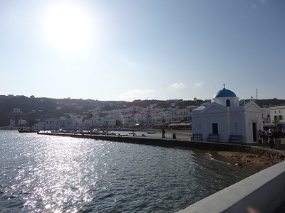 Arrival at the island of Mykonos, Greece