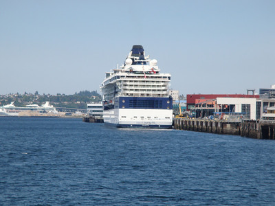 Seattle Waterfront. Celebrity Infinity loading for the next cruise.