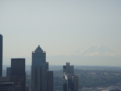 View from top of Space Needle. Note Mt. Olympus in background