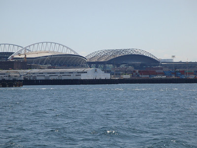 Two Stadiums. Seattle Seahawks on left and Seattle Mariners on right.
