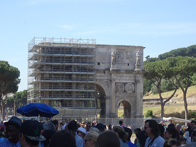 Outside of Colosseum. Restoration going on.