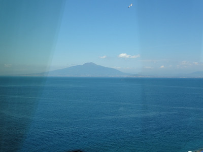Mount Vesuvius in the background. Still an active and dangerous volcano
