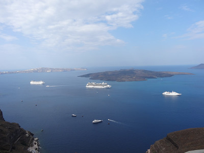 View of the Caldera from the town of Fira in Santorini, Greece
