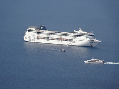 MSC Armonia anchored in Santorini, Greece