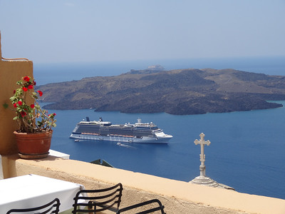 Celebrity Equinox anchored in Santorini, Greece