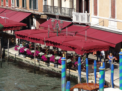 There are cafes like this all along the Grand Canal and back streets of Venice.