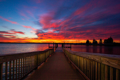 Sunrise over the water in Quantico, Virginia