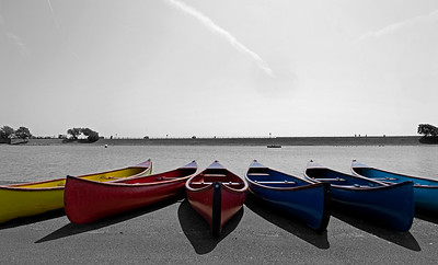 Rowing boats on a warm summer day in Lytham St Annes, UK